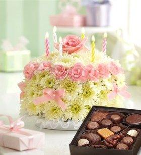 1-800-Flowers – Birthday Flower Cake Pastel – with Chocolate