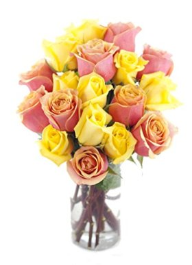 Bouquet of Long Stemmed Orange and Yellow Roses (Dozen and a Half) – With Vase