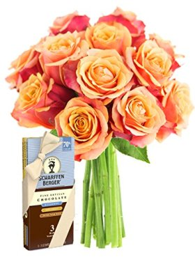 Long Stemmed Orange Roses (Dozen) and Scharffen Berger Chocolate – Without Vase