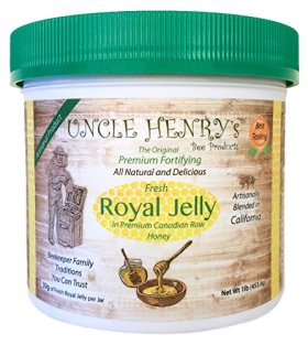 "#1 Premium FRESH ROYAL JELLY in Canadian Raw Honey. Big 1lb Artisanal Product of California, Beekeeper Family Traditions. Best Tasting. The Original Green Lid Mix. ""You'll Love it"" Henry's Guarantee"