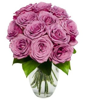 From You Flowers – Easter – Pure Purple Roses – One Dozen (FREE Vase Included)