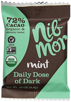 NibMor Organic Daily Dose of Dark Chocolate, Mint, 0.35 Ounce (Pack of 60)