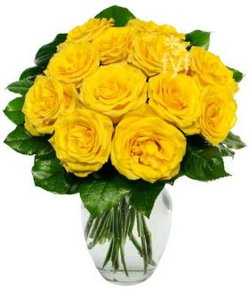 From You Flowers – Fresh Yellow Roses – One Dozen (Free Vase Included)