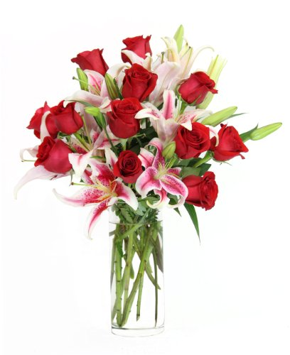 The Lily & Rose Minuet Bouquet – The KaBloom Collection Flowers With Vase