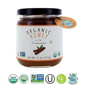 Greenbow Organic Honey with Cinnamon 11oz (311g) 100% USDA Organic and Non-GMO