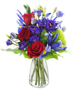 Mother's Day Special Leading Lady Roses and Iris – With Vase