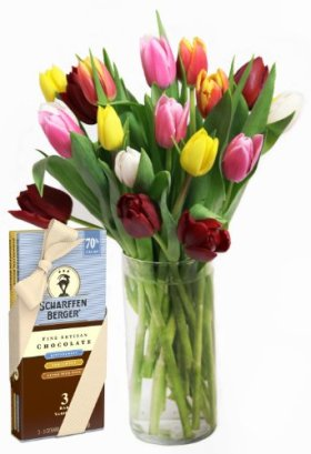 Rainbow Tulip Bouquet (20 Stems) and Scharffen Berger Chocolate – With Vase