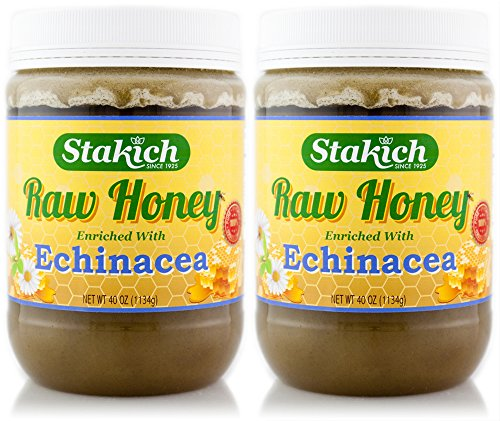 Stakich ECHINACEA Enriched RAW HONEY 5-LB – 100% Pure, Unprocessed, Unheated –