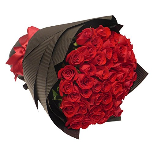 50 Romantic Farm Fresh Red Roses Bouquet By justFreshRoses | Long Stem Fresh Red Rose Delivery
