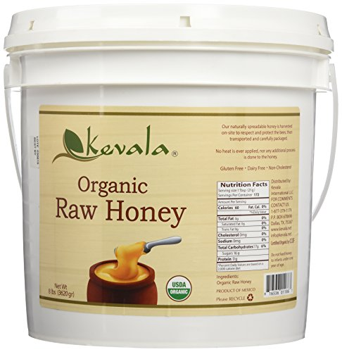 Kevala Organic SPREADABLE Raw Honey 8 Lbs Pail