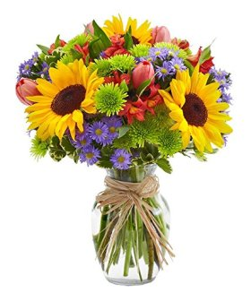 From You Flowers – European Floral Garden – Sunflowers, Pink Tulips, Green Poms (Free Glass Vase Included) Measures 12″H by 10″L