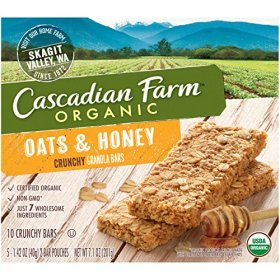 Cascadian Farm Snacks Organic Crunchy Oats and Honey Granola Bars, 7.1 Ounce