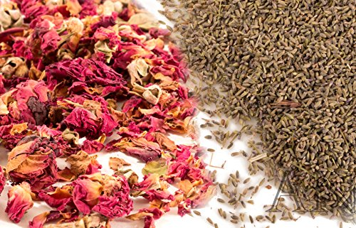 Aisev Naturals® – Rose Buds & Petals, Red + Lavender Flowers – 1/2 lb of Each
