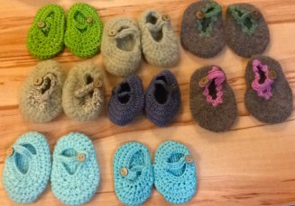 Crochet yarn and fur baby booties
