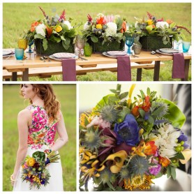 Bright colour wedding flowers
