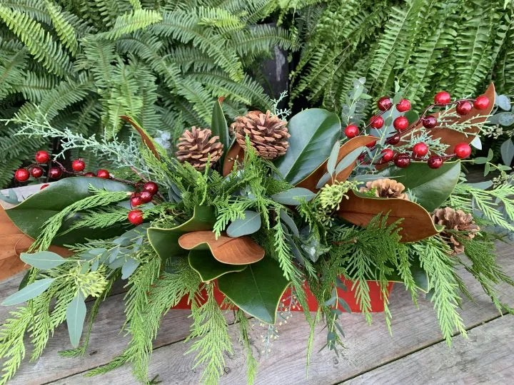 winter arrangement with pine