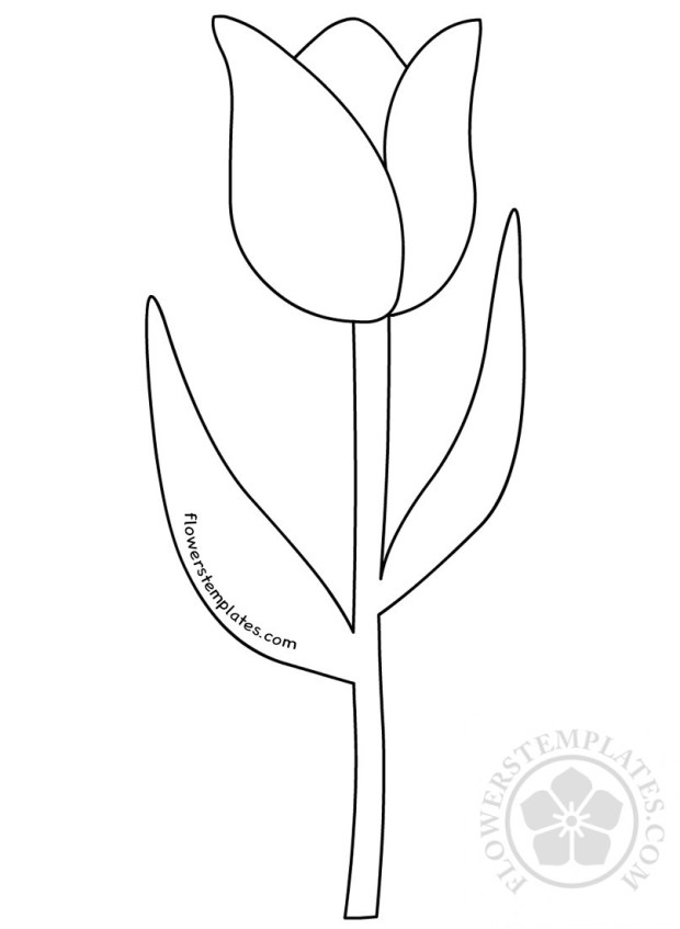 tulip flower with stem clipart black and white