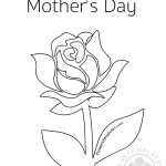 Happy Mother's Day Single Rose coloring page