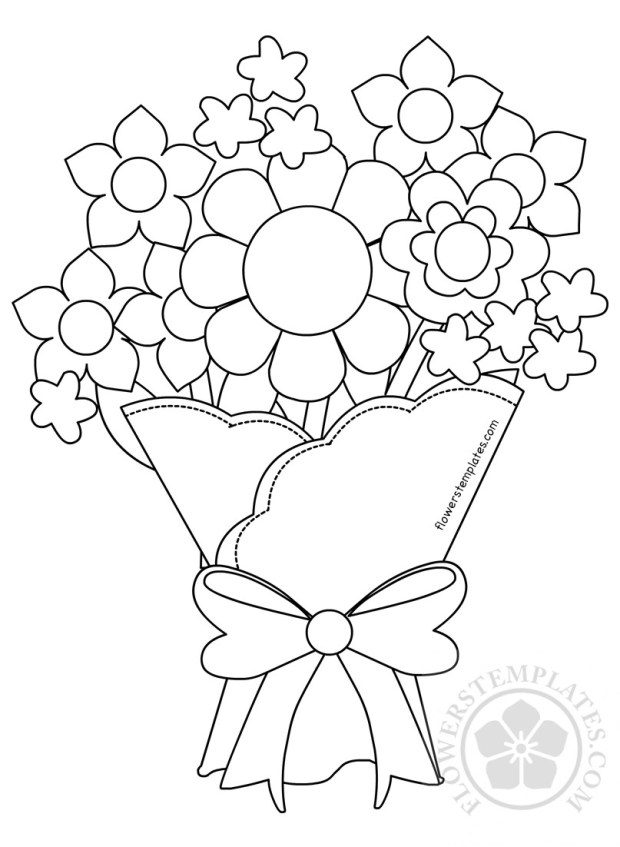 Bouquet of spring flowers to color flowers templates share mightylinksfo