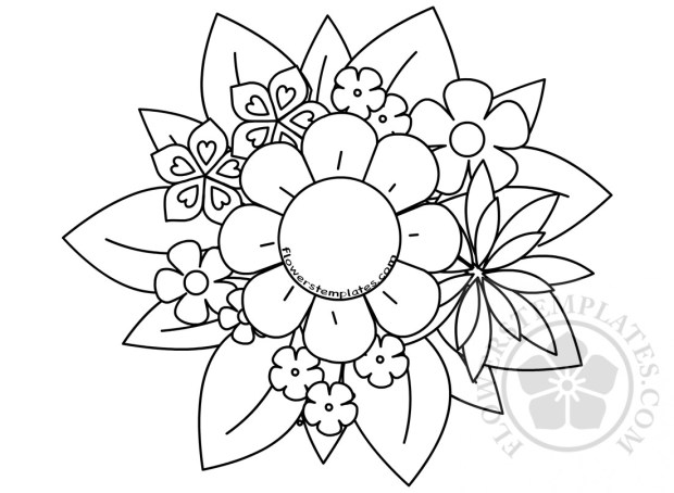 Flower Bouquet Coloring Page Mother S Day Flowers Templates