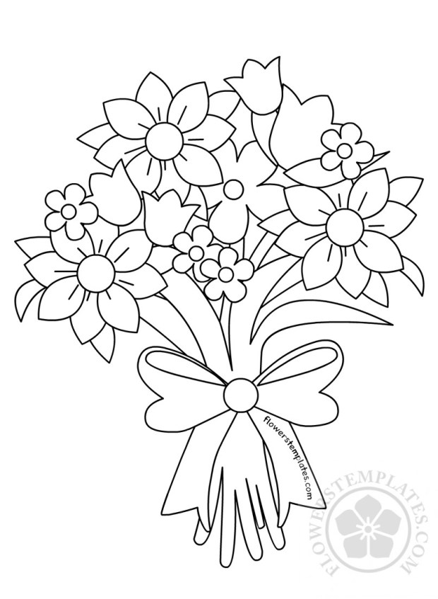 Beautiful Flower Bouquet Coloring Page | Flowers Templates