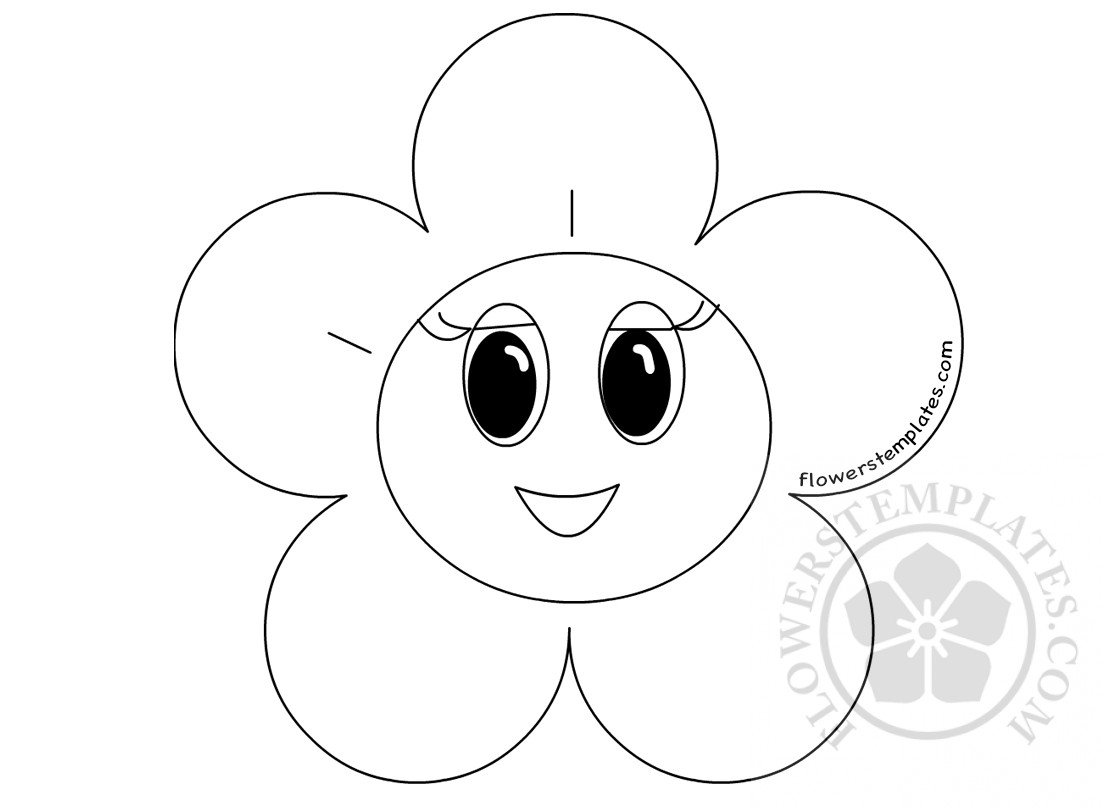 spring coloring pages smiley face flower
