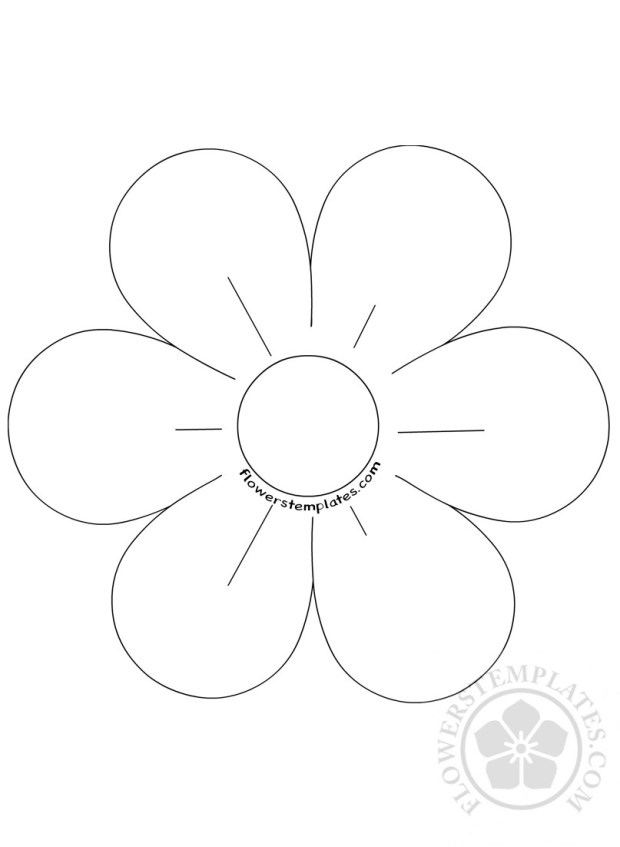 6 petal flower template coloring page