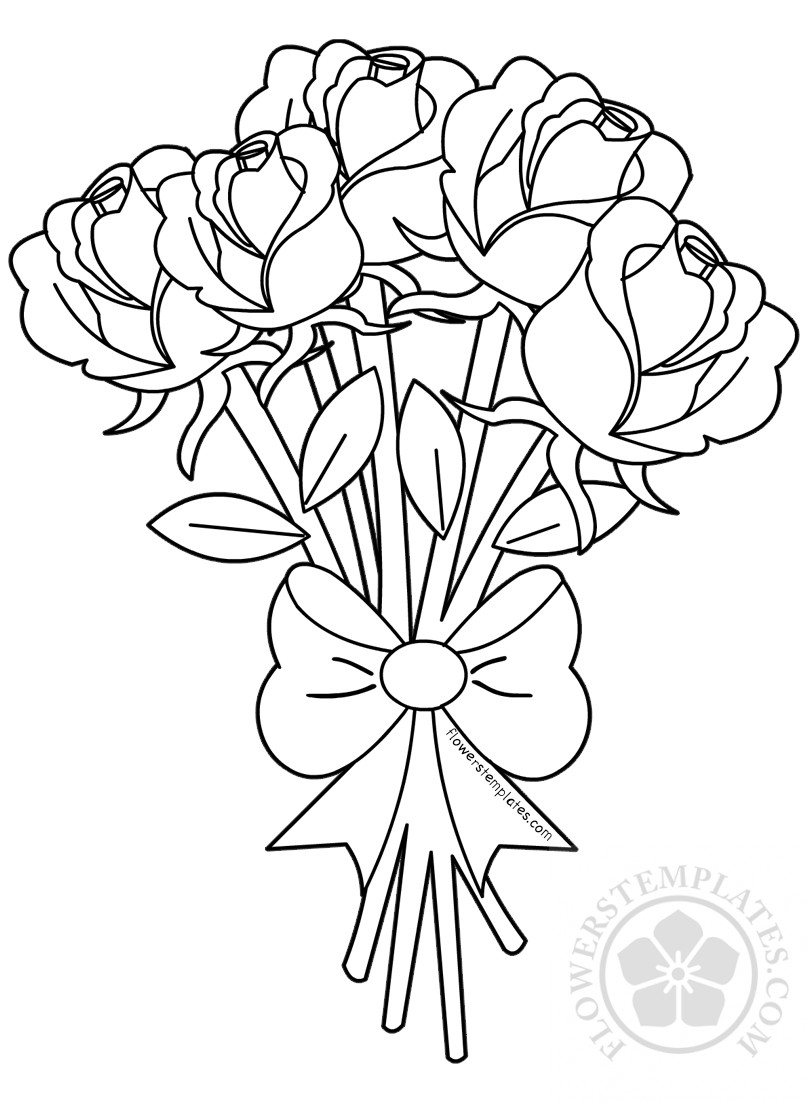 Flower bouquet of roses coloring page | Flowers Templates