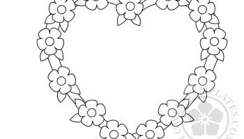 Flower heart frame coloring page | Flowers Templates