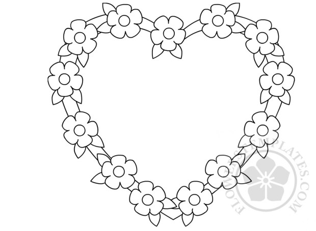 flowers heart frame coloring page flowers templates
