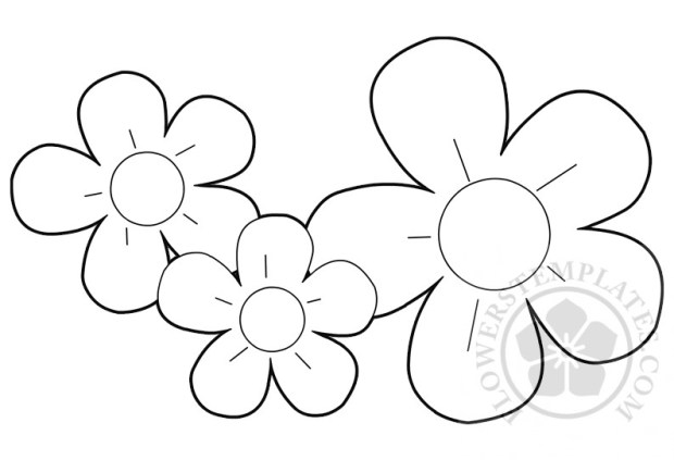 3 flowers coloring page