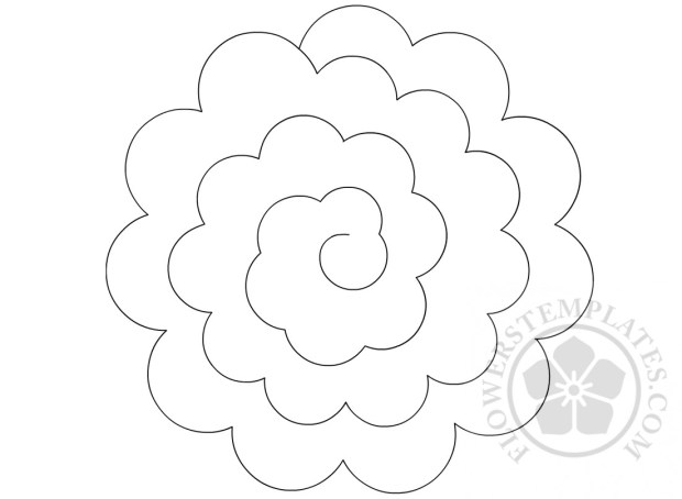 Paper rolled rosette template flowers templates for Rolled paper roses template