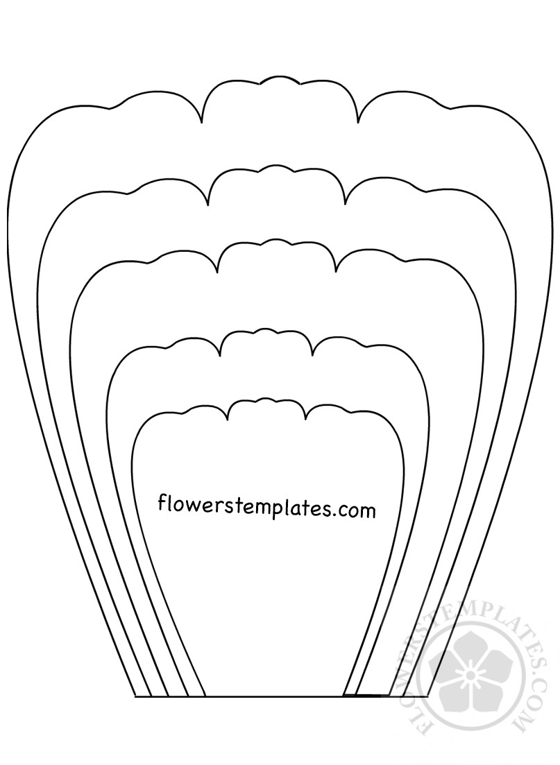 It is an image of Delicate Large Flower Petal Template Printable
