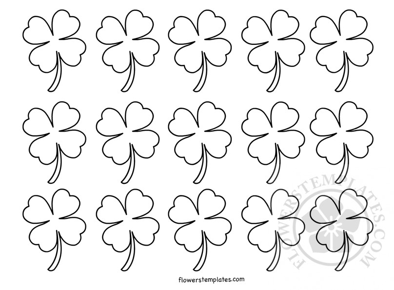 picture relating to Printable Four Leaf Clovers named Reduced 4 Leaf Clover Routine printable Bouquets Templates