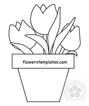 Vase with tulips coloring page | Flowers Templates