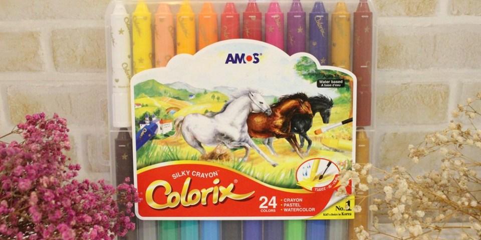 【育兒】韓國AMOS水蠟筆24色~旺財的第三盒蠟筆!(真的很好畫,難怪媽媽界超推薦~)