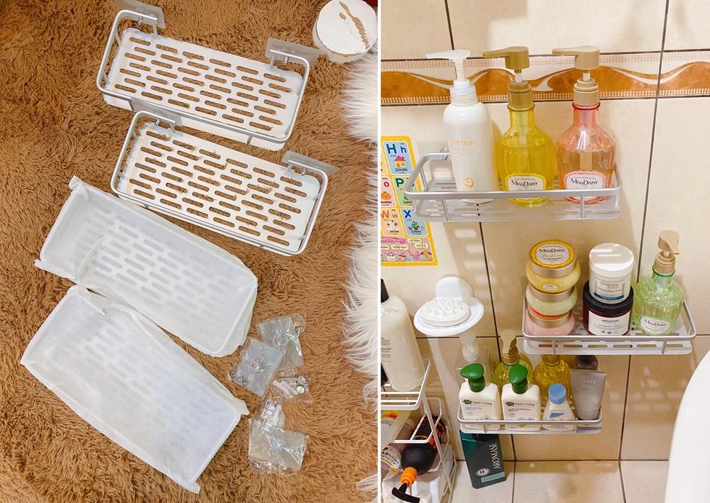 【浴室收納】我把浴室的瓶瓶罐罐全上牆了,浴室的防水不鏽鋼無痕瓶罐架推薦!