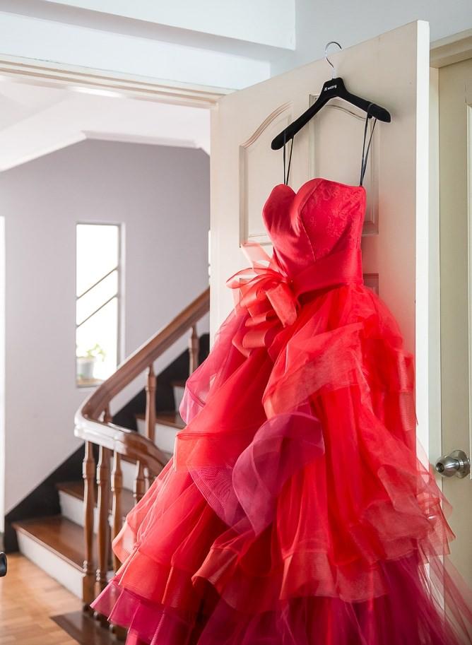 【婚紗試穿】我的訂婚大紅禮服@JE Wedding