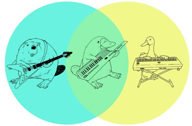 venn diagram  platypus playing a keytar