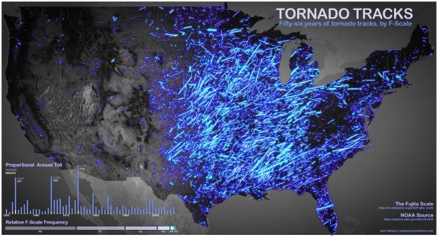 Tornado Path Map Tornado tracks | FlowingData Tornado Path Map