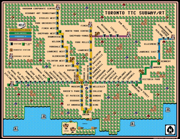 Mario 3 World Map.Toronto Subway Map Super Mario 3 Style Flowingdata