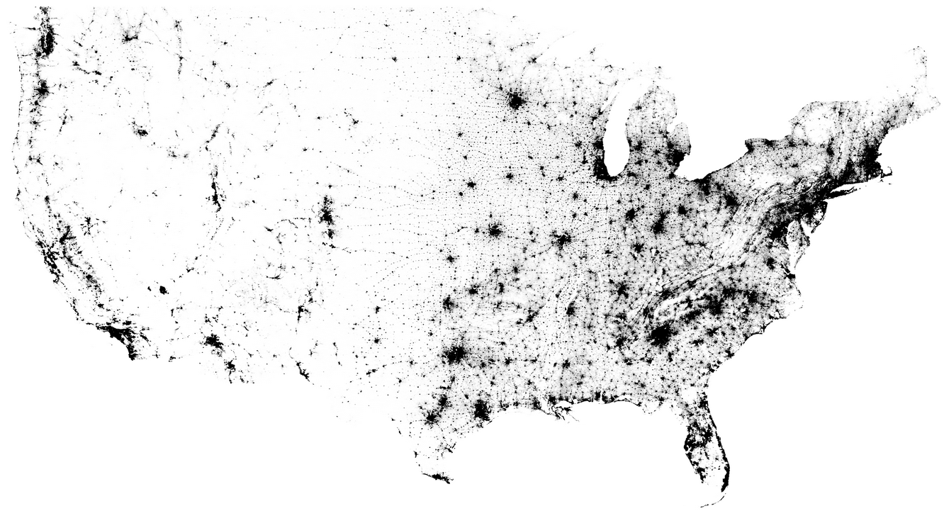 Us Population Concentration Map Us Census - Map of us population density