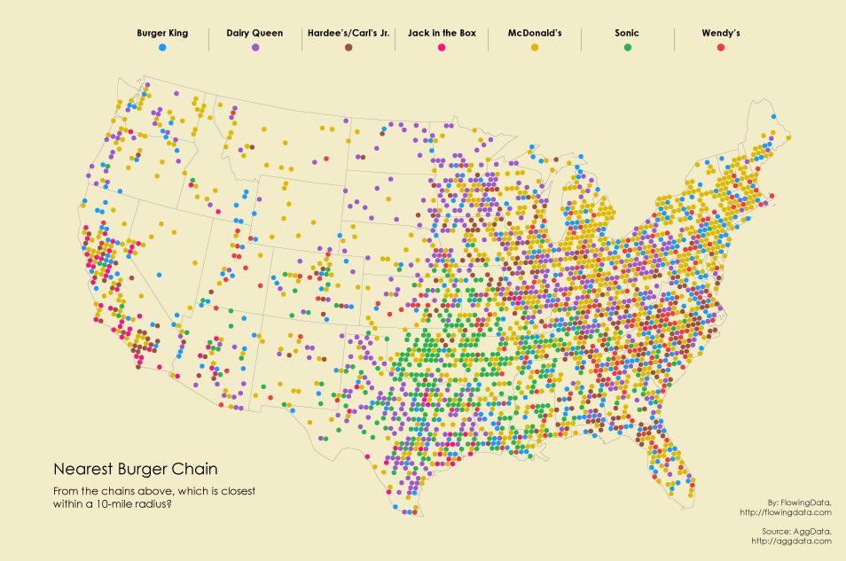 Image result for dot density map mcdonalds