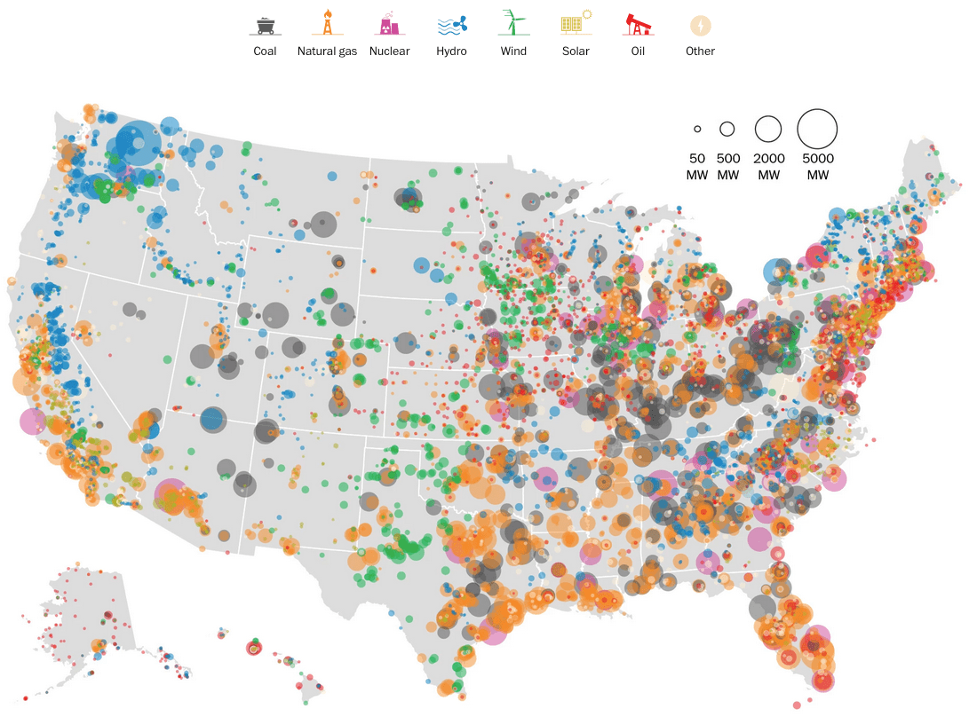 United States Electricity Map Flowingdata