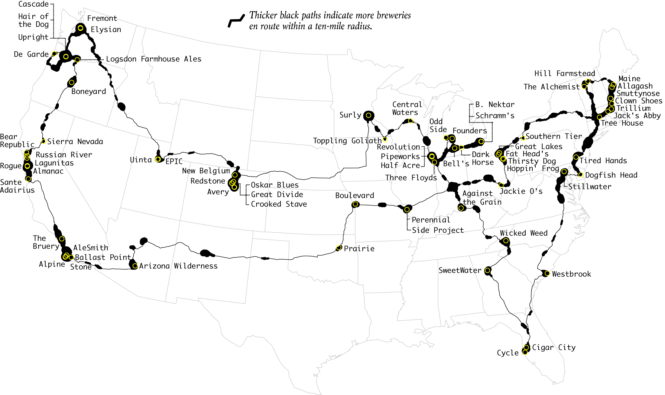 Top Brewery Road Trip, Routed Algorithmically | FlowingData