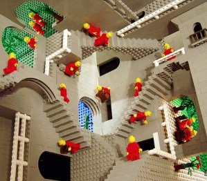 Escher's Relativity in Lego by Andrew Simpsom from idigit_teddy via Flickr