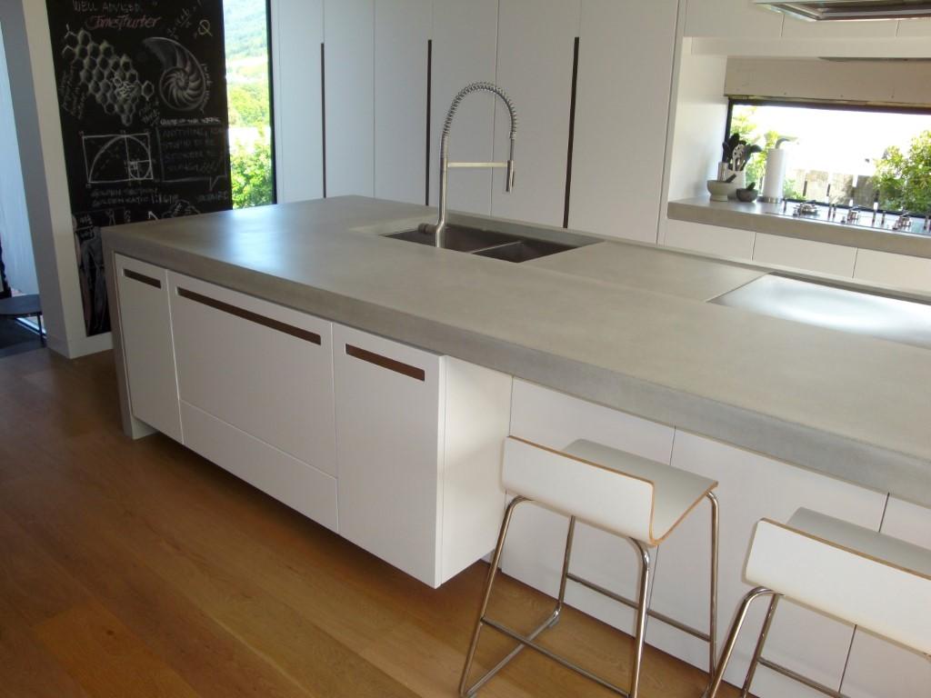 kitchen island with range top moen banbury faucet concrete benchtops - unique | flowing stone
