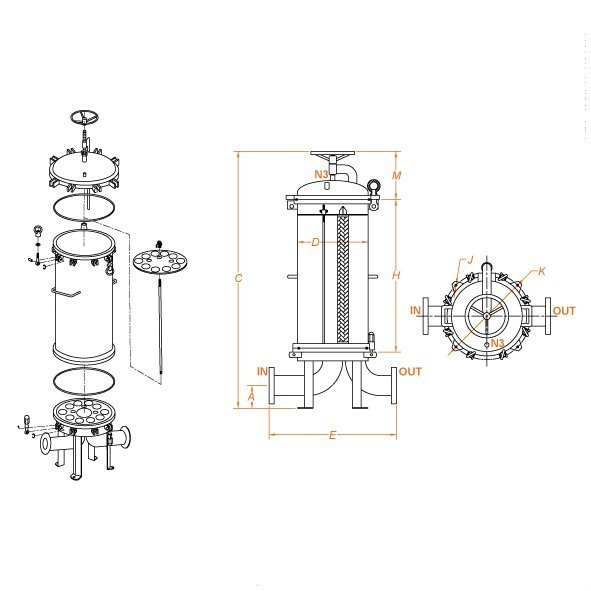 Filtri sanitari multi cartucce HF_Flowise_scheda tecnica