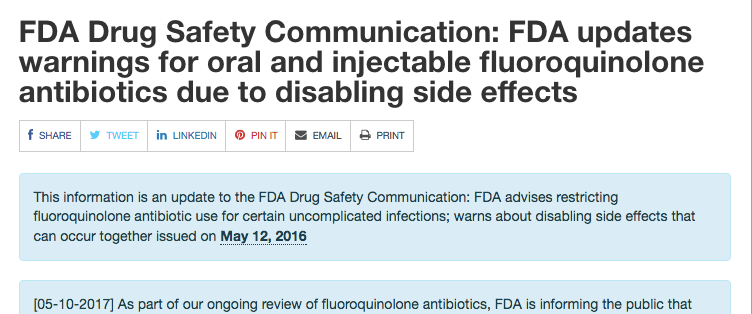 Updated Black-box Warnings for Fluoroquinolones