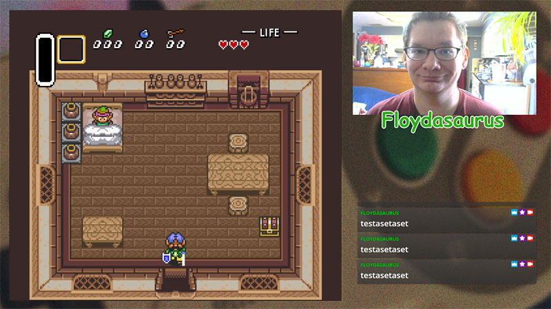 Example of SNES overlay, the background shows a SNES controller enlarged while Link to the Past is being played and the streamer is visible on camera.